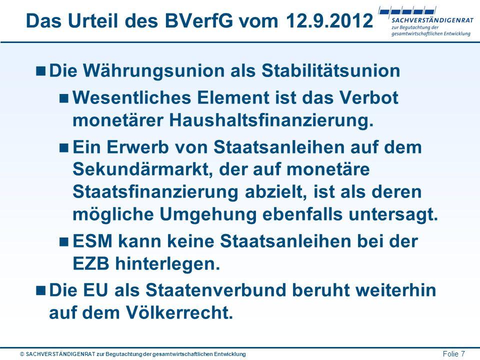 Das Urteil des BVerfG vom 12.9.2012