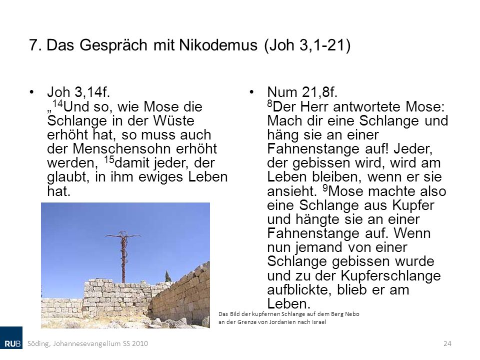 7. Das Gespräch mit Nikodemus (Joh 3,1-21)