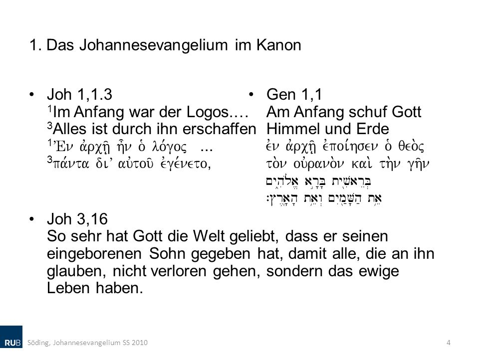 1. Das Johannesevangelium im Kanon
