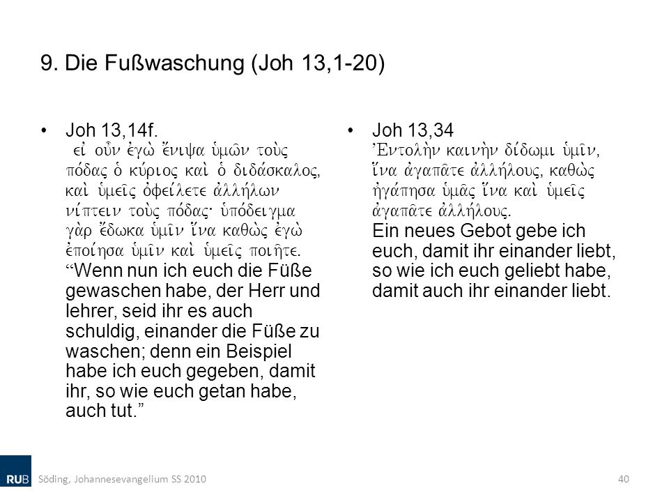 9. Die Fußwaschung (Joh 13,1-20)