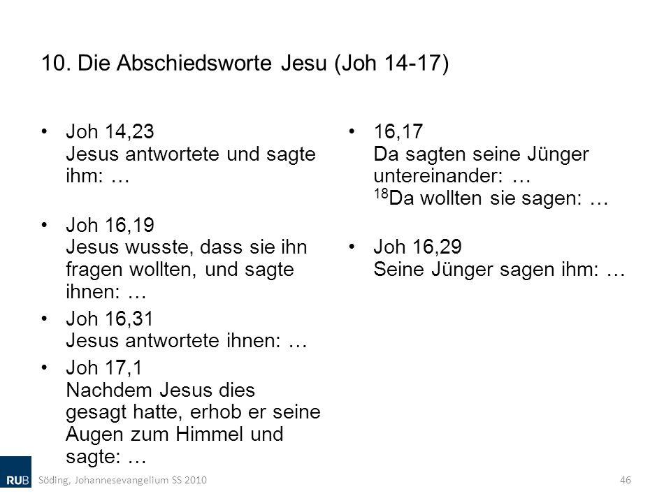 10. Die Abschiedsworte Jesu (Joh 14-17)