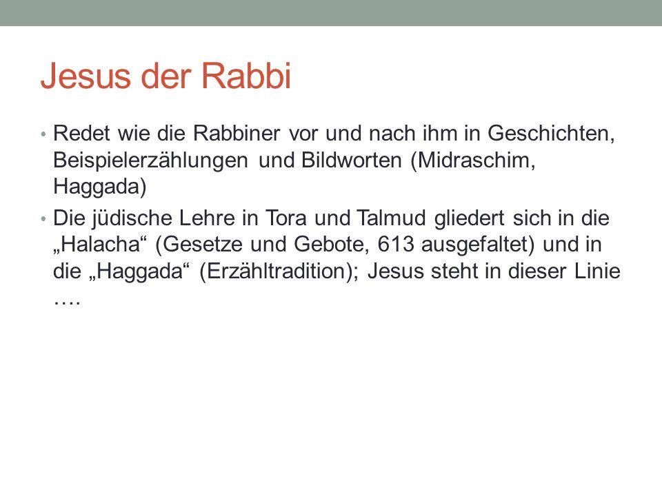 Jesus der Rabbi Redet wie die Rabbiner vor und nach ihm in Geschichten, Beispielerzählungen und Bildworten (Midraschim, Haggada)