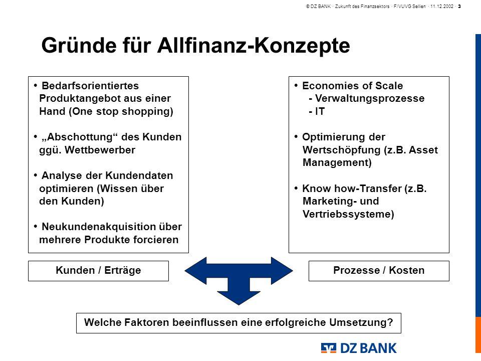 Gründe für Allfinanz-Konzepte