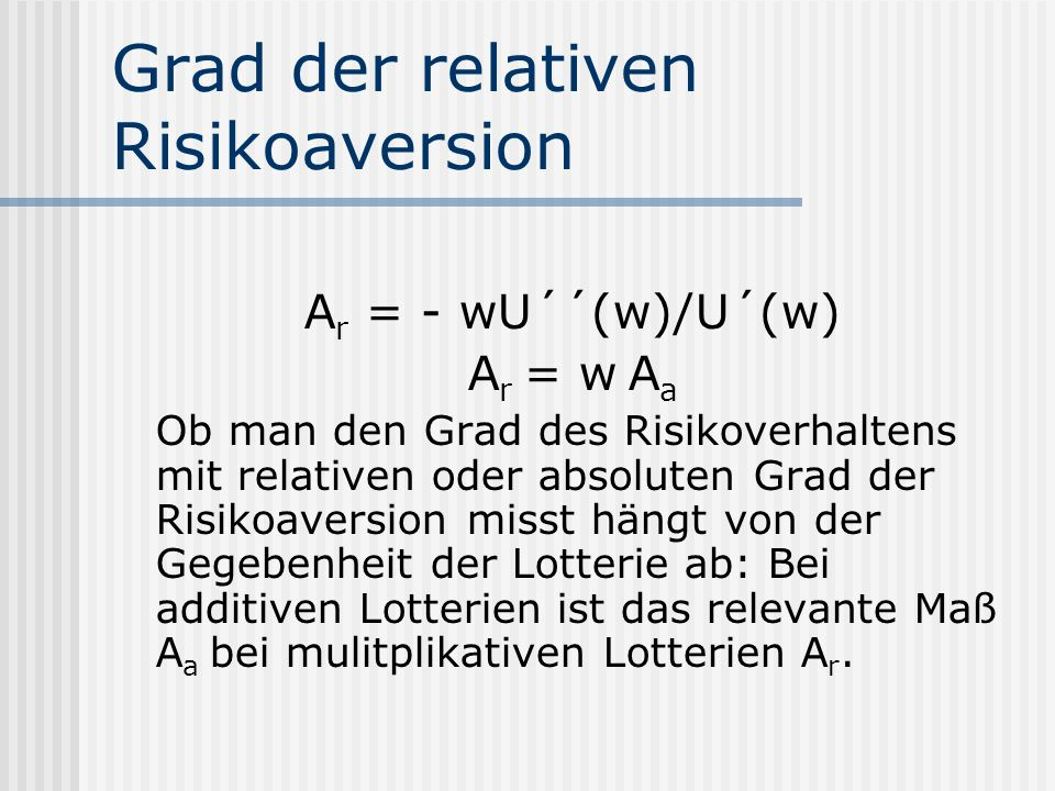 Grad der relativen Risikoaversion