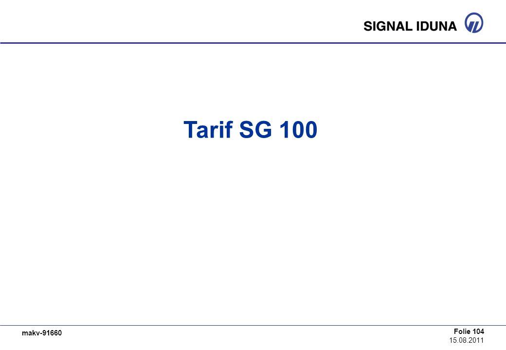 Tarif SG 100