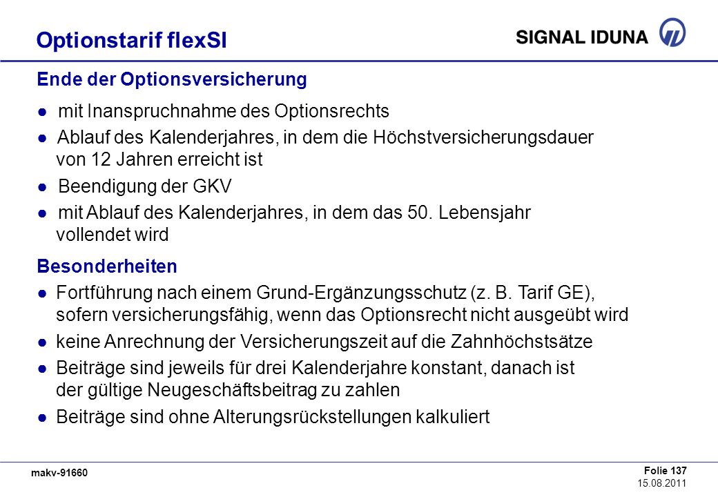 Optionstarif flexSI Ende der Optionsversicherung