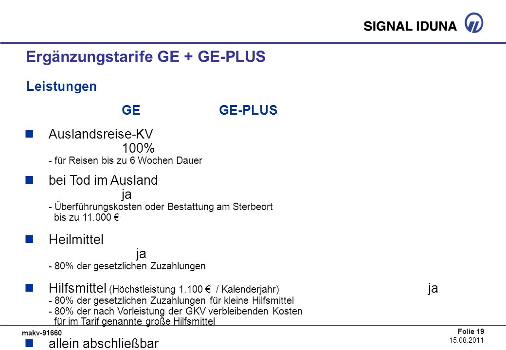 Ergänzungstarife GE + GE-PLUS