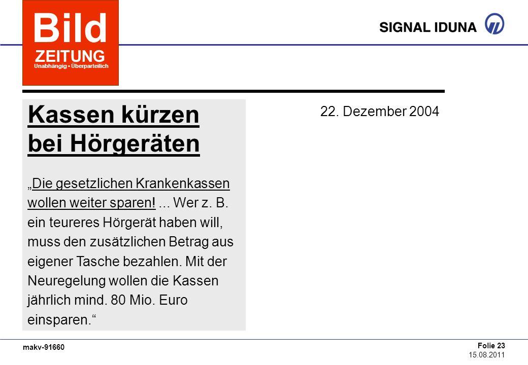 Bild Kassen kürzen bei Hörgeräten ZEITUNG 22. Dezember 2004