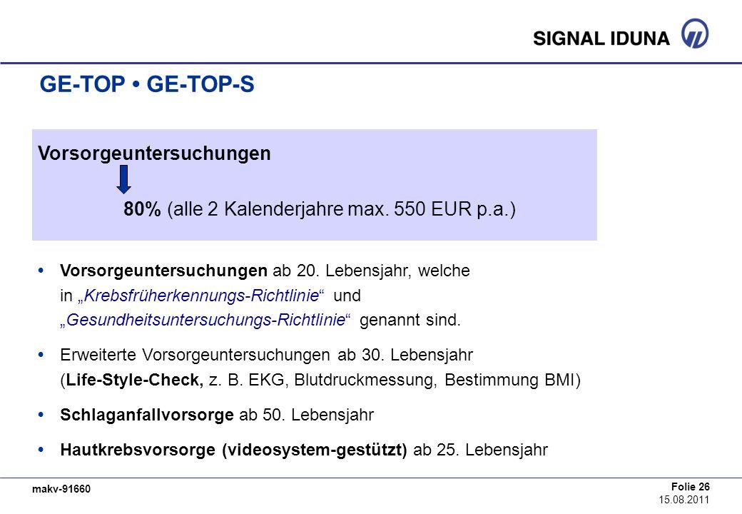 GE-TOP • GE-TOP-S Vorsorgeuntersuchungen
