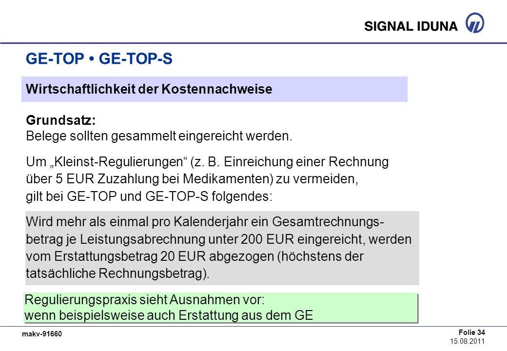 GE-TOP • GE-TOP-S Wirtschaftlichkeit der Kostennachweise Grundsatz: