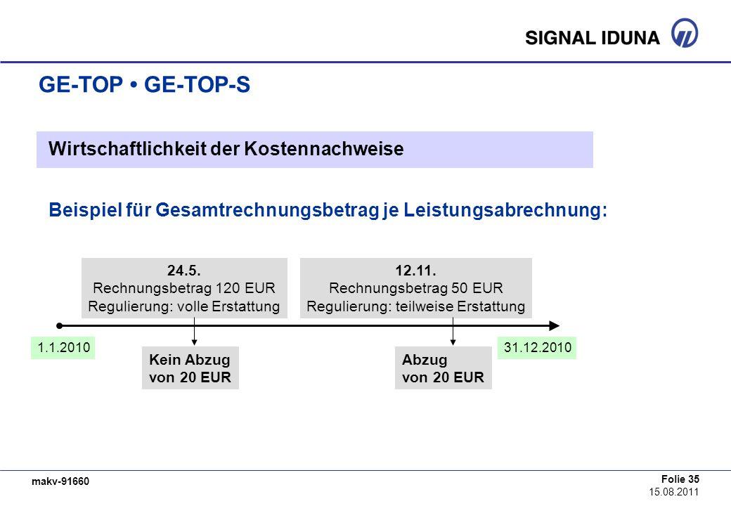 GE-TOP • GE-TOP-S Wirtschaftlichkeit der Kostennachweise