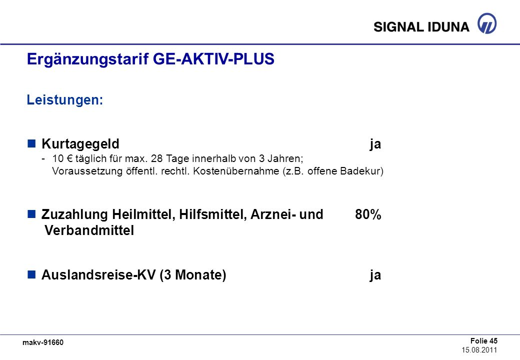 Ergänzungstarif GE-AKTIV-PLUS