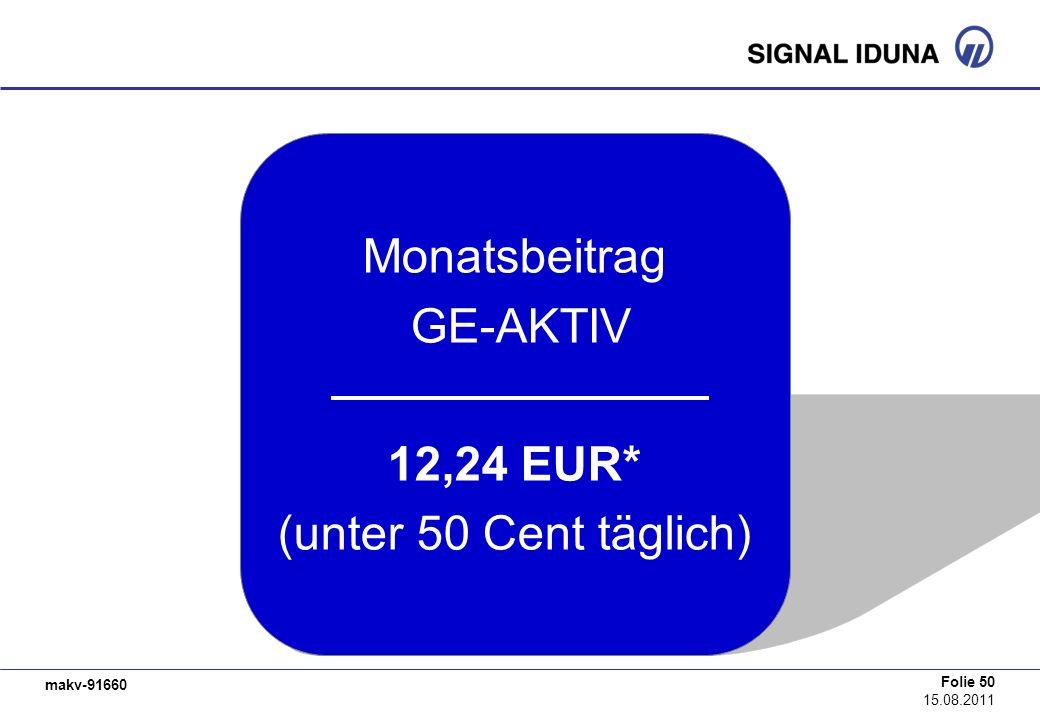 Monatsbeitrag GE-AKTIV 12,24 EUR* (unter 50 Cent täglich)