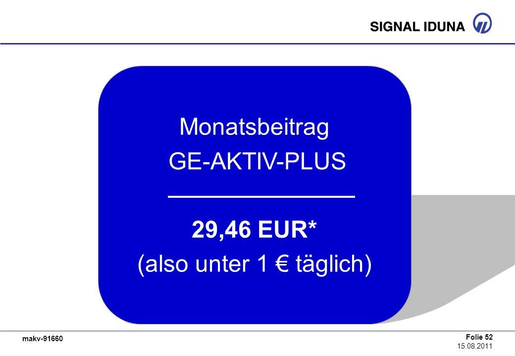 Monatsbeitrag GE-AKTIV-PLUS 29,46 EUR* (also unter 1 € täglich)