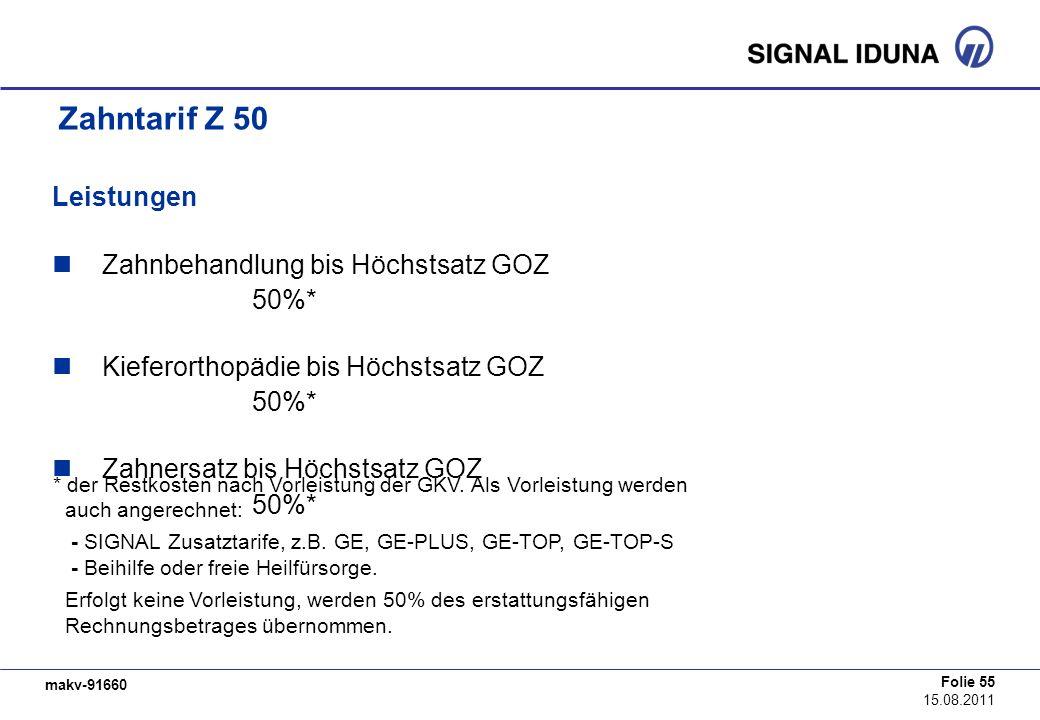 Zahntarif Z 50 Leistungen Zahnbehandlung bis Höchstsatz GOZ 50%*