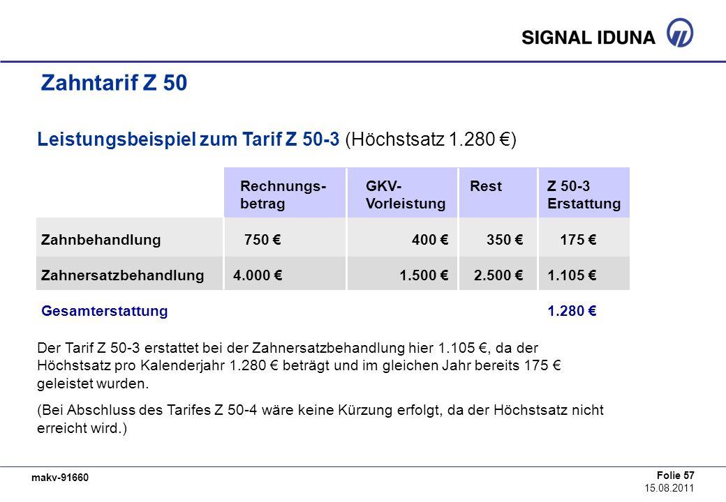 Leistungsbeispiel zum Tarif Z 50-3 (Höchstsatz 1.280 €)