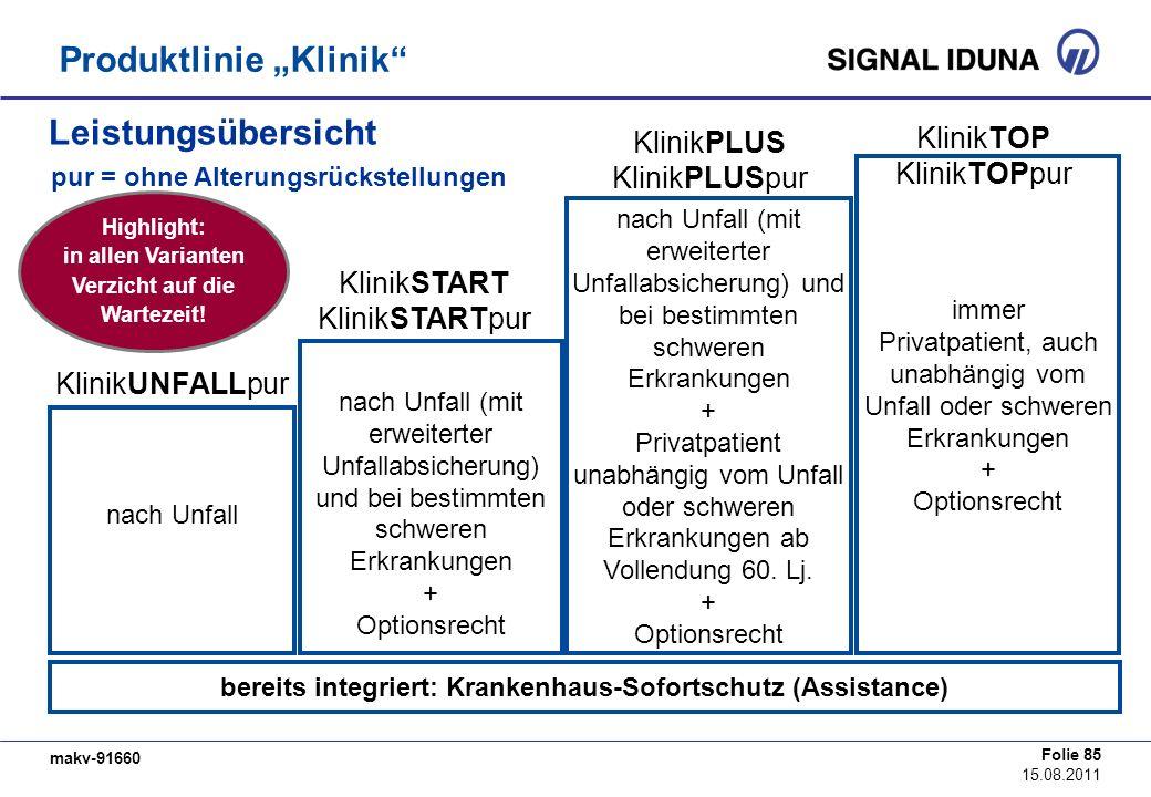 bereits integriert: Krankenhaus-Sofortschutz (Assistance)