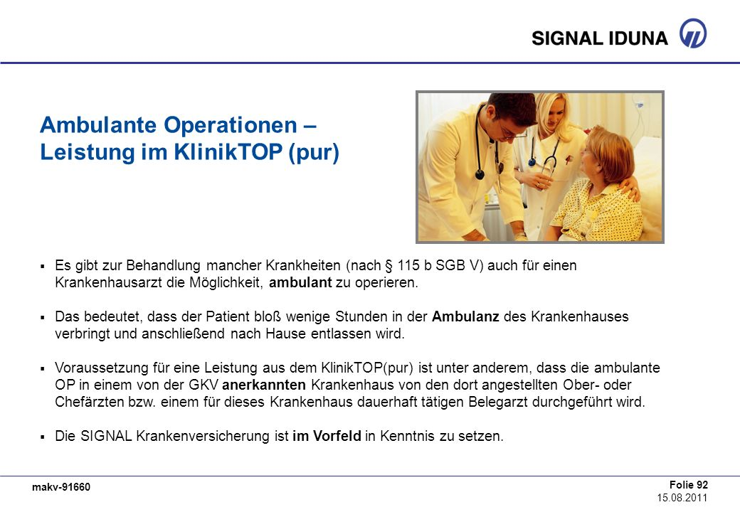 Ambulante Operationen – Leistung im KlinikTOP (pur)