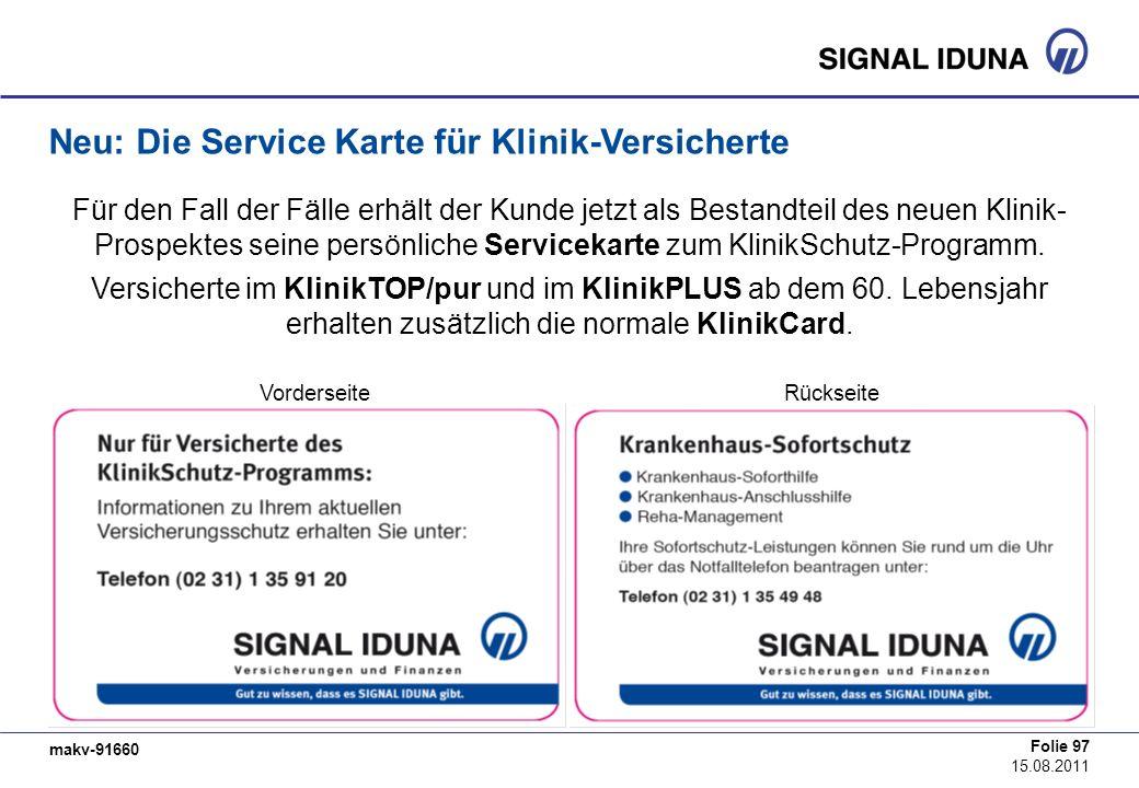 Neu: Die Service Karte für Klinik-Versicherte