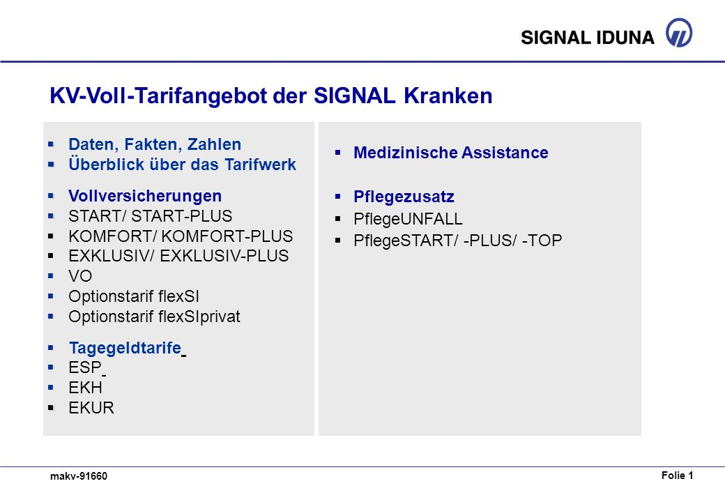KV-Voll-Tarifangebot der SIGNAL Kranken