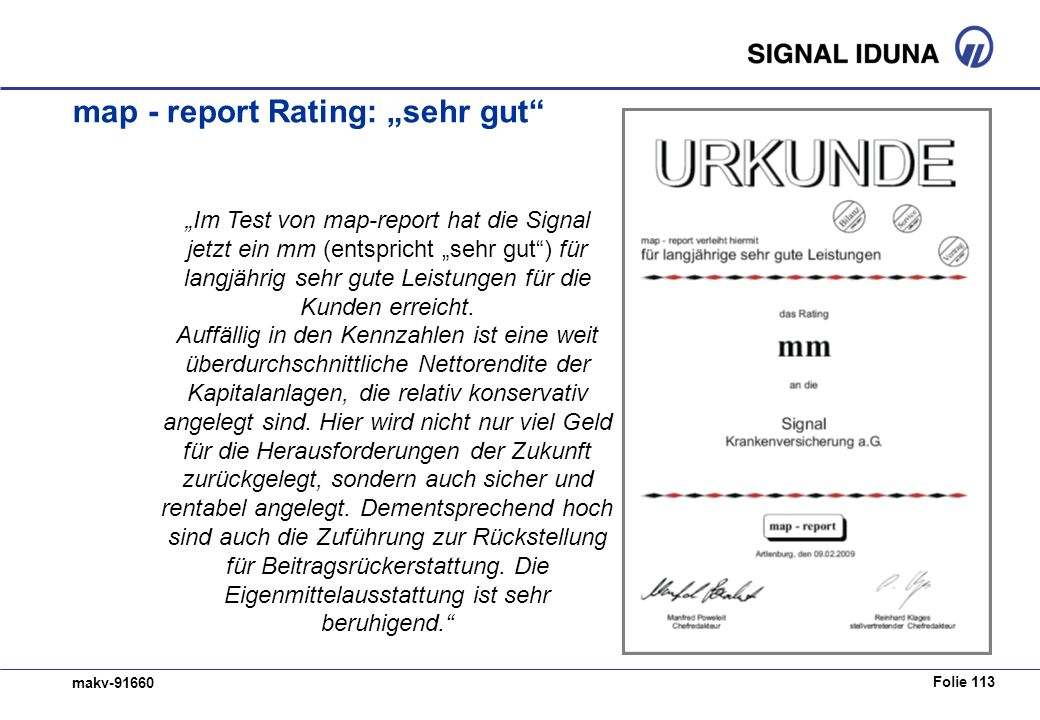 "map - report Rating: ""sehr gut"