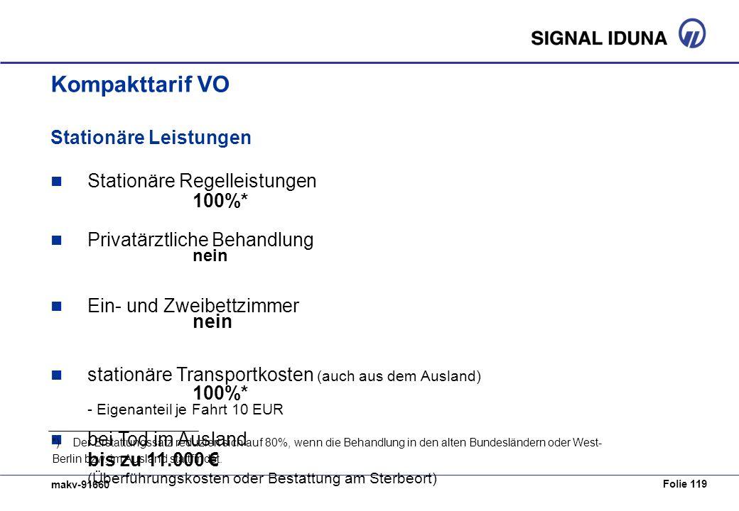 Kompakttarif VO Stationäre Leistungen Stationäre Regelleistungen 100%*