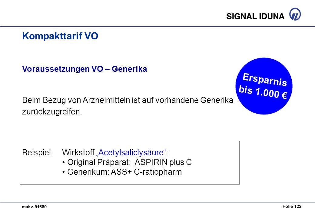 Kompakttarif VO Ersparnis bis 1.000 € Voraussetzungen VO – Generika