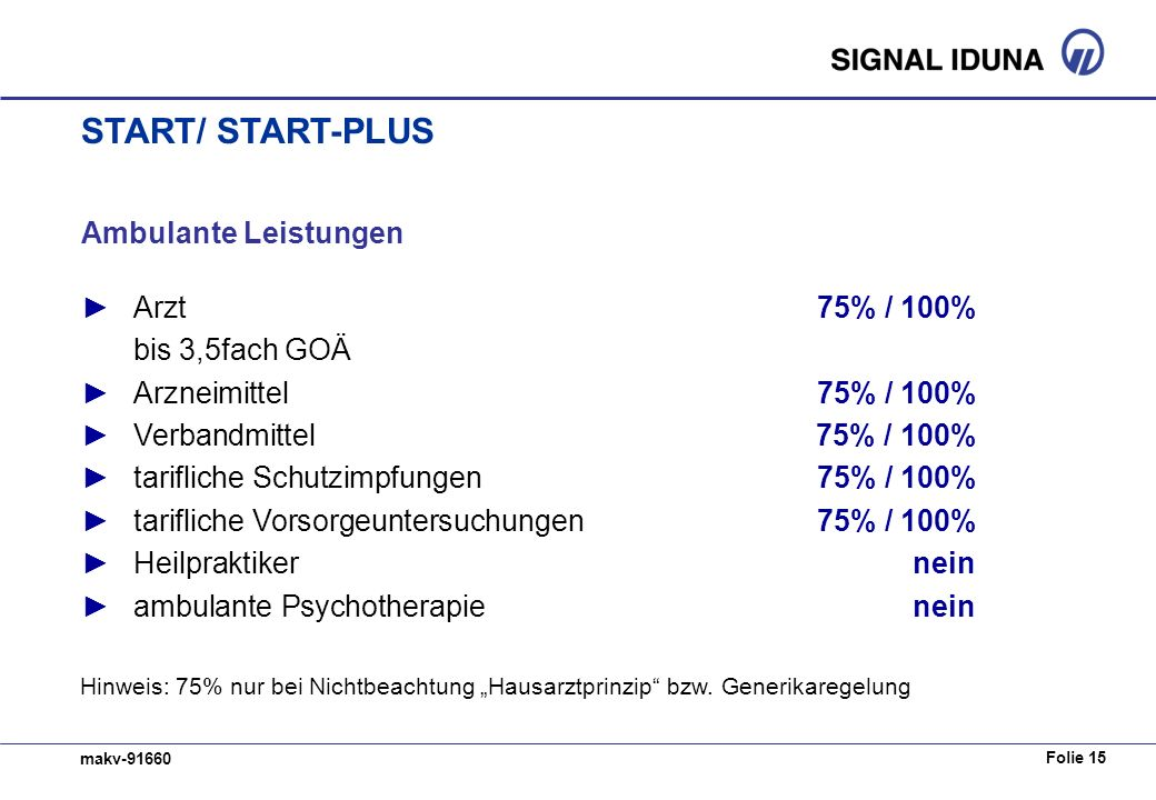 START/ START-PLUS Ambulante Leistungen ► Arzt 75% / 100%
