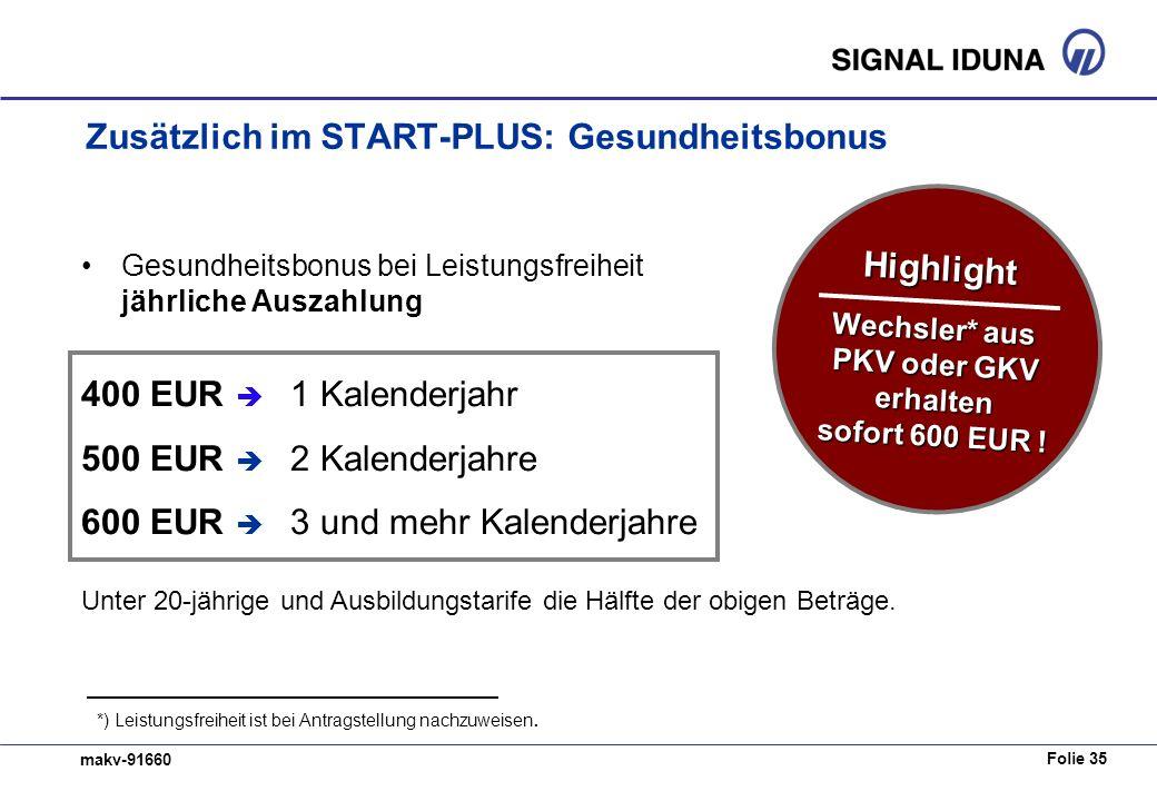 Zusätzlich im START-PLUS: Gesundheitsbonus