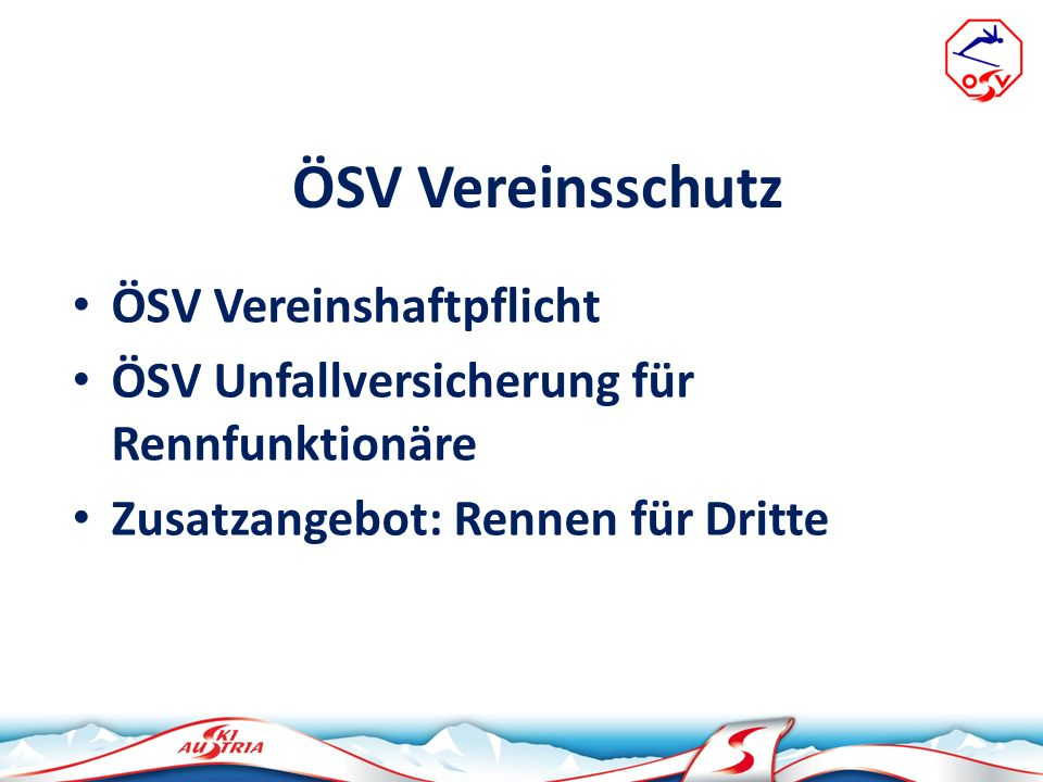 ÖSV Vereinsschutz ÖSV Vereinshaftpflicht