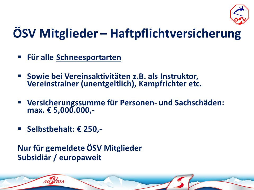 ÖSV Mitglieder – Haftpflichtversicherung