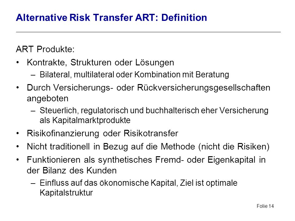 Alternative Risk Transfer ART: Definition