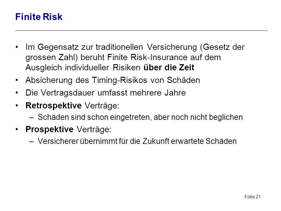 Finite Risk