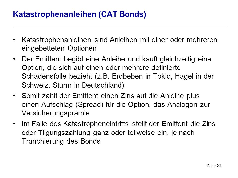 Katastrophenanleihen (CAT Bonds)