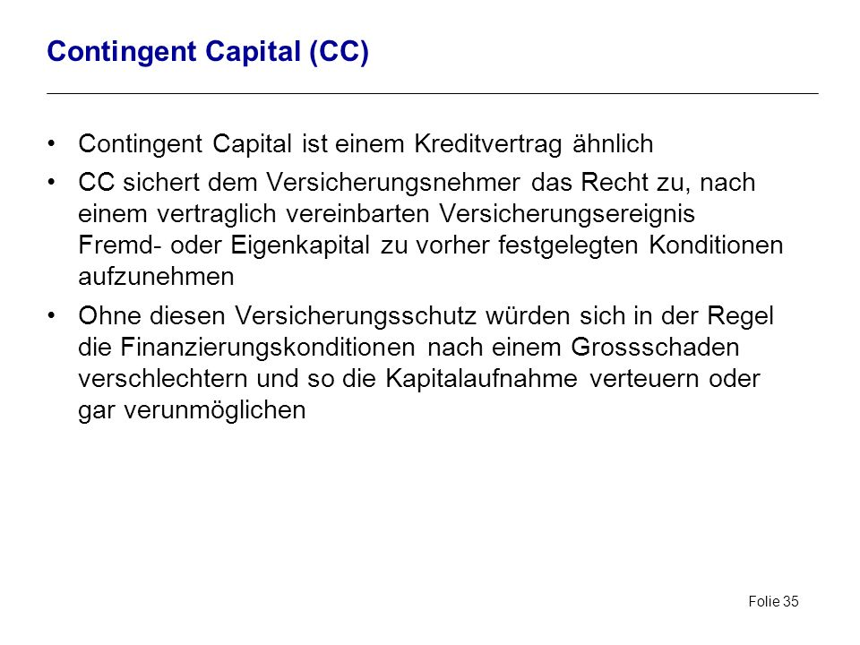 Contingent Capital (CC)