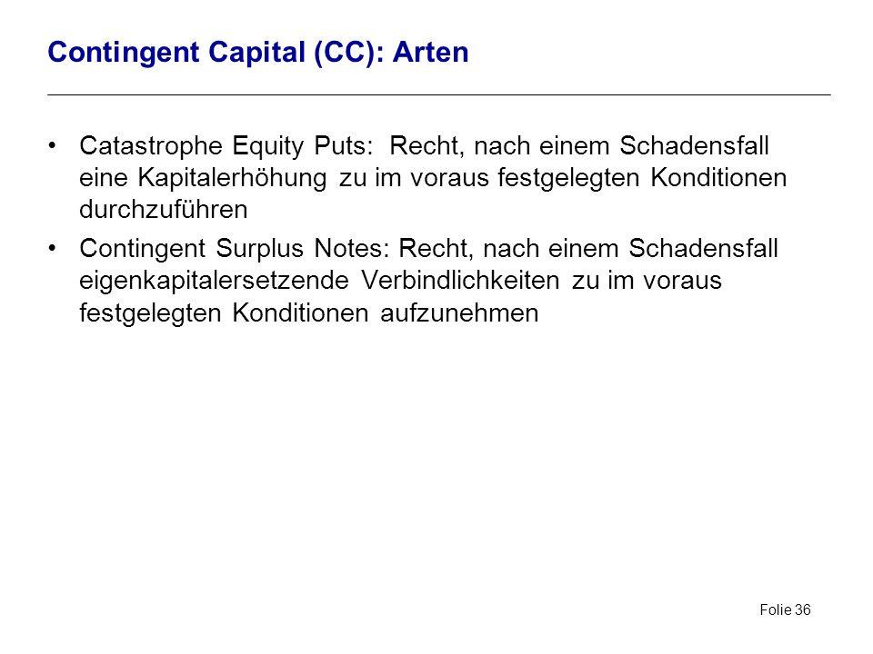 Contingent Capital (CC): Arten