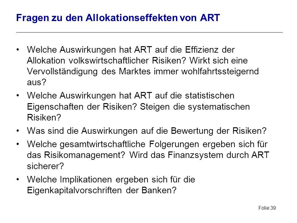 Fragen zu den Allokationseffekten von ART
