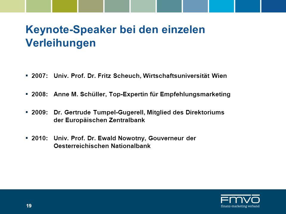 Keynote-Speaker bei den einzelen Verleihungen