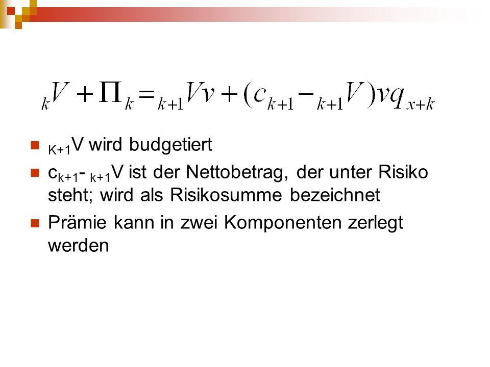 K+1V wird budgetiert ck+1- k+1V ist der Nettobetrag, der unter Risiko steht; wird als Risikosumme bezeichnet.