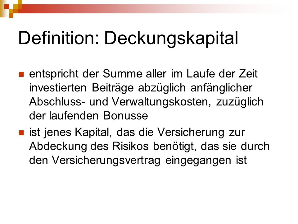 Definition: Deckungskapital