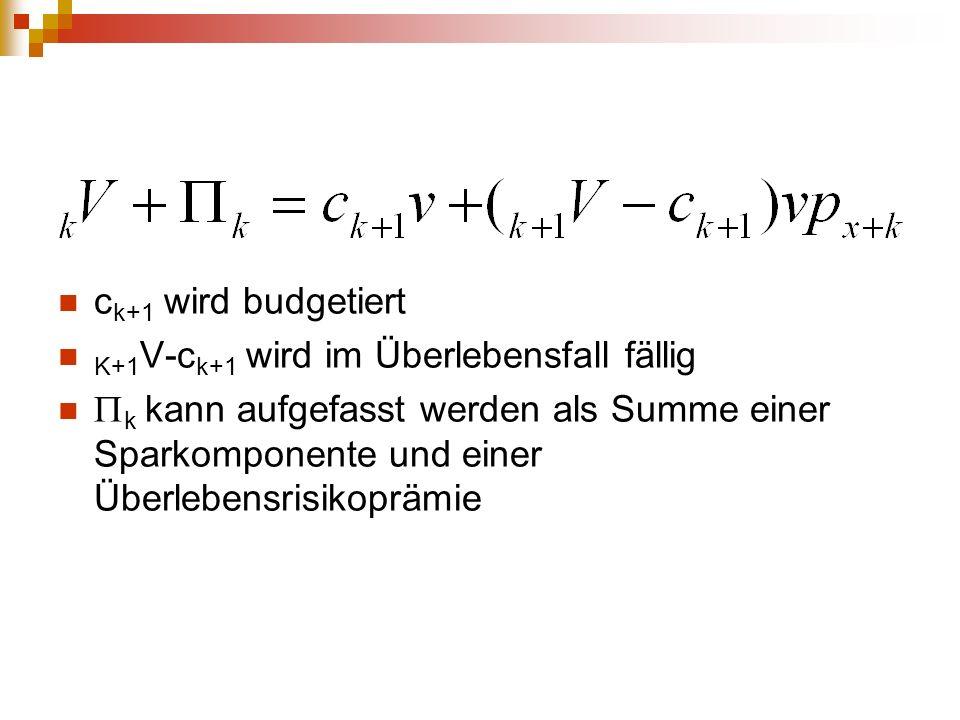 ck+1 wird budgetiert K+1V-ck+1 wird im Überlebensfall fällig.