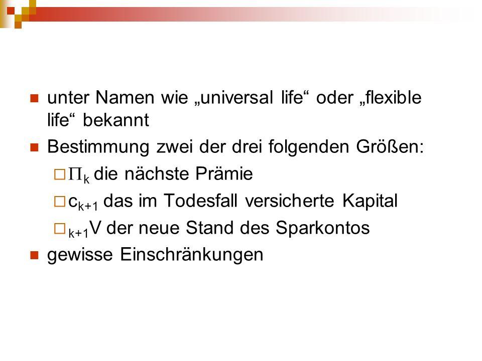 """unter Namen wie """"universal life oder """"flexible life bekannt"""