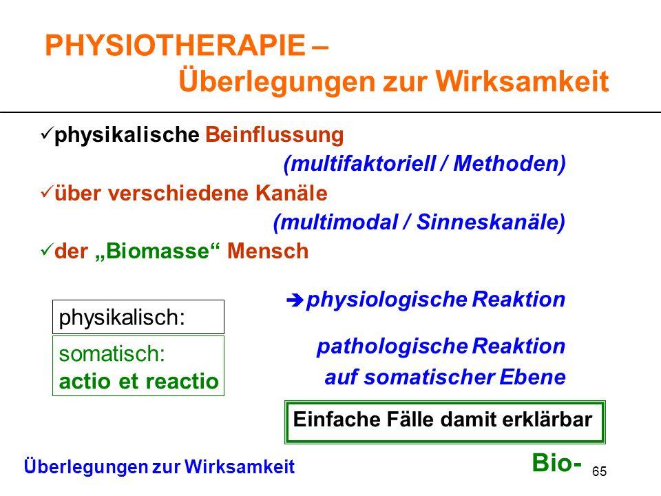 PHYSIOTHERAPIE – Überlegungen zur Wirksamkeit