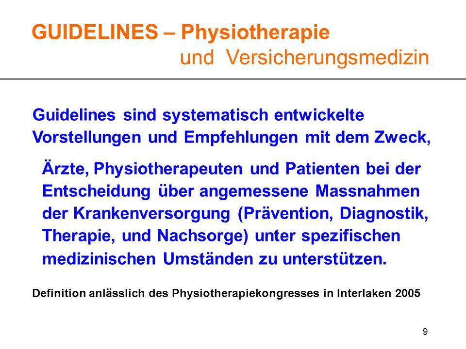 GUIDELINES – Physiotherapie und Versicherungsmedizin