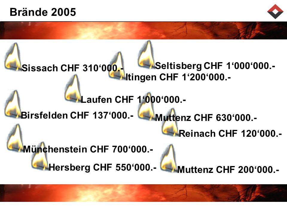 Brände 2005 Seltisberg CHF 1'000'000.- Sissach CHF 310'000.-