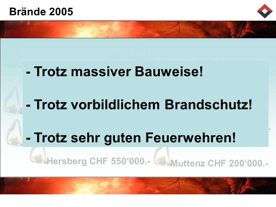 Brände 2005 Seltisberg CHF 1'000'000.- Sissach CHF 310'000.- Itingen CHF 1'200'000.-