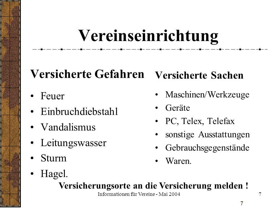Informationen für Vereine - Mai 2004