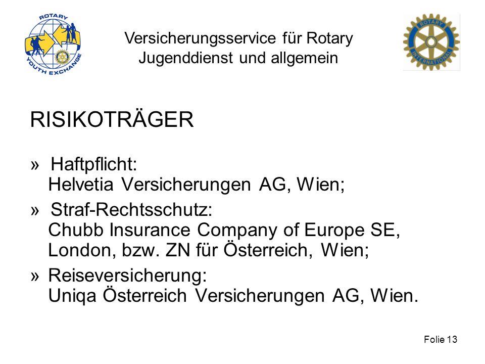RISIKOTRÄGER » Haftpflicht: Helvetia Versicherungen AG, Wien;