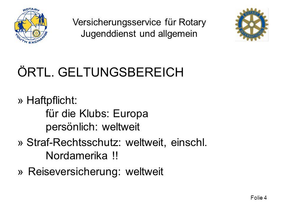 ÖRTL. GELTUNGSBEREICH» Haftpflicht: für die Klubs: Europa persönlich: weltweit. » Straf-Rechtsschutz: weltweit, einschl.