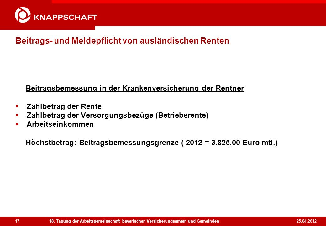 Beitrags- und Meldepflicht von ausländischen Renten